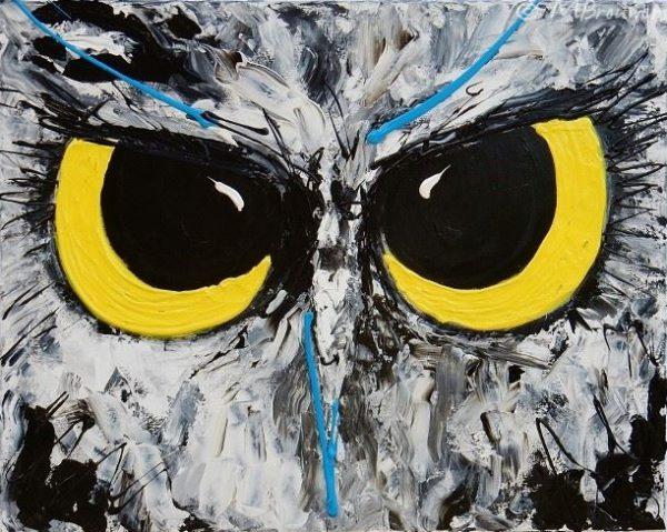 schilderij uilenogen, kunstwerk, figuratief kunstwerk, modern schilderij, geel schilderij, schilderij laten maken