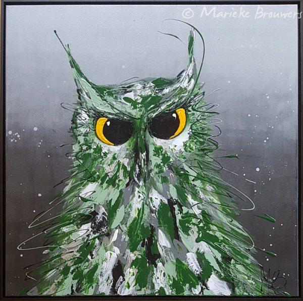 figuratief schilderij, groen, grijs, uil, uilenschilderij, kunstwerk, kunst in de keuken, kunst in je interieur, schilderij voor in de woonkamer