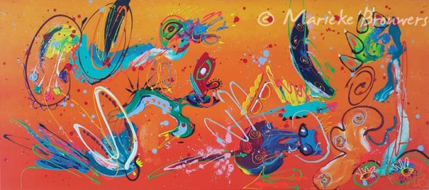 schilderij in opdracht, abstract kunstwerk, kleurrijk schilderij, vrolijk schilderij,oranje schilderij, turquoise, blauw, interieur, kleur in je interieur, kleur in huis, kunstwerk boven de bank, schilderij boven de bank