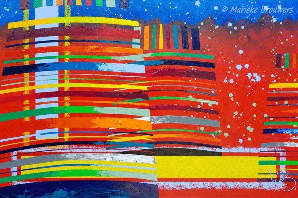 abstracte kunst, moderne kunst, kleurrijk schilderij, modern schilderij, strak schilderij, rood schilderij, origineel kunstwerk, groot schilderij, schilderij boven de eettafel, schilderij in de kamer, kleurrijk interieur, kleurrijk wonen